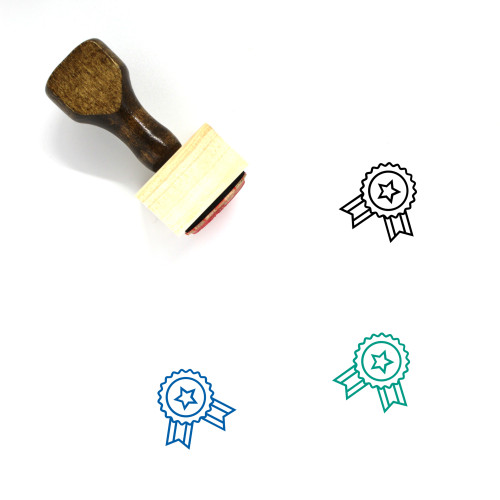 Ribbon Badge Wooden Rubber Stamp No. 74