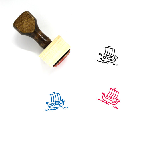 Viking Ship Wooden Rubber Stamp No. 1