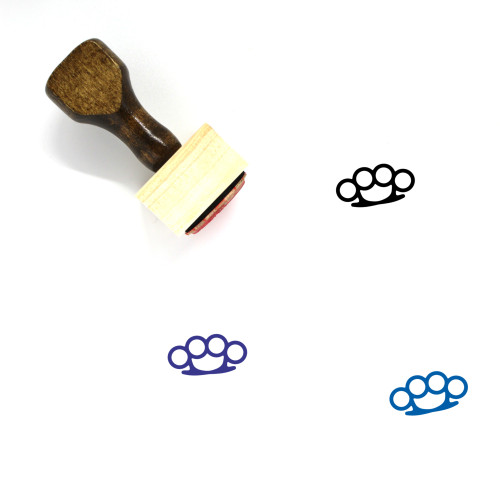 Brass Knuckles Wooden Rubber Stamp No. 17