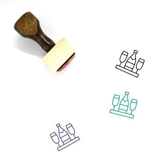 Champagne Wooden Rubber Stamp No. 60