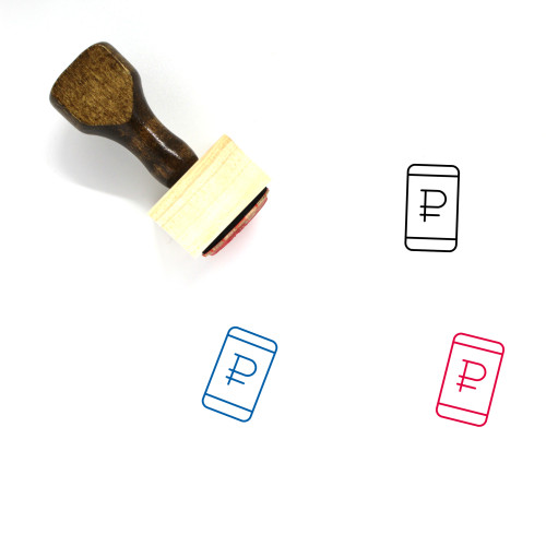 Ruble Phone Wooden Rubber Stamp No. 3
