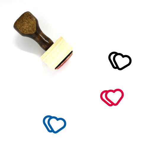 Hearts Wooden Rubber Stamp No. 286
