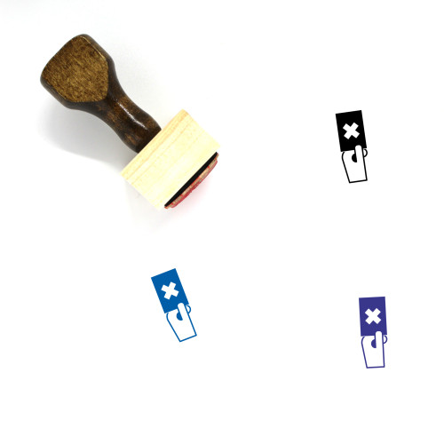 Red Flag Wooden Rubber Stamp No. 2