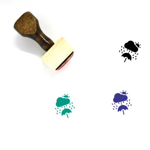 Raining Wooden Rubber Stamp No. 8