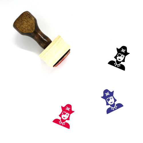 Pirate Woman Wooden Rubber Stamp No. 1