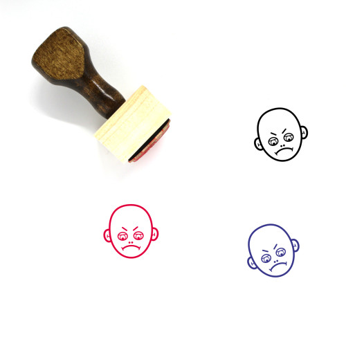 Angry Face Wooden Rubber Stamp No. 34