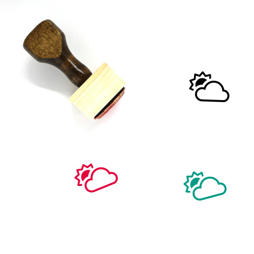 Partly Cloudy Wooden Rubber Stamp No. 54