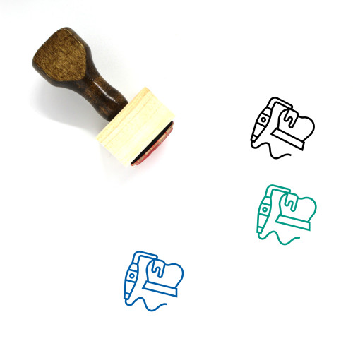 Teeth Scaling Wooden Rubber Stamp No. 3