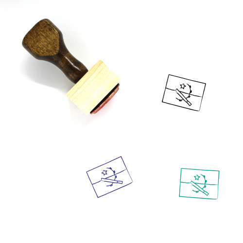 Angolan Flag Wooden Rubber Stamp No. 1