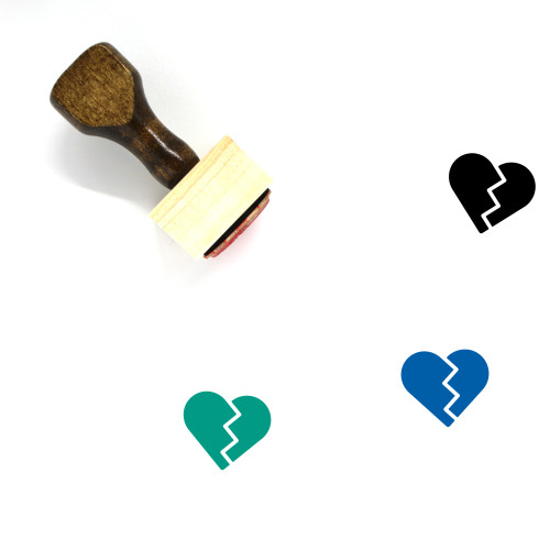Broken Heart Wooden Rubber Stamp No. 158