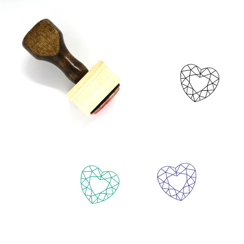 Heart Diamond Wooden Rubber Stamp No. 10