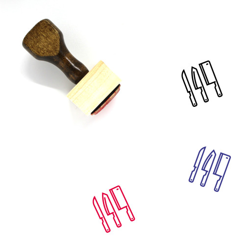 Knifes Wooden Rubber Stamp No. 4