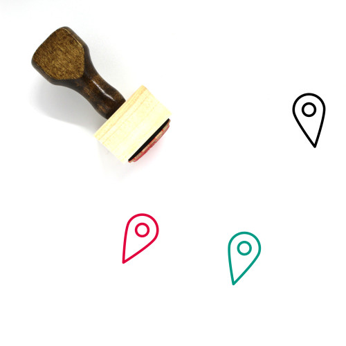 Map Marker Wooden Rubber Stamp No. 296