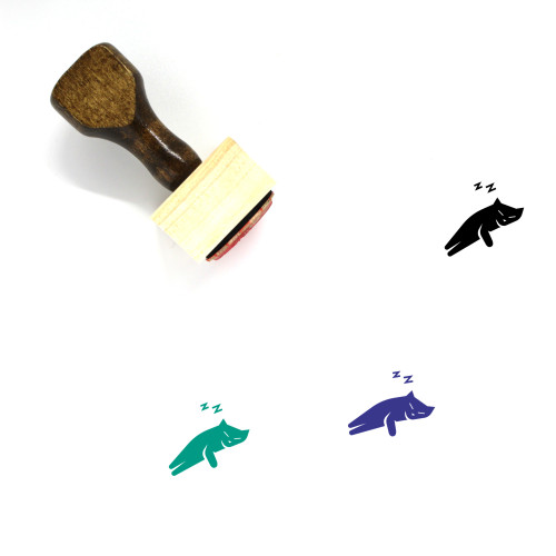 Sleeping Cat Wooden Rubber Stamp No. 1