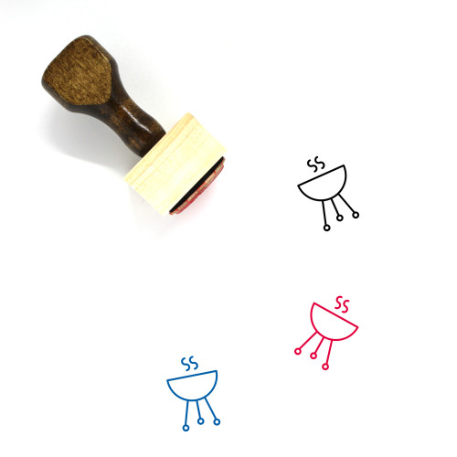 Barbecue Wooden Rubber Stamp No. 48