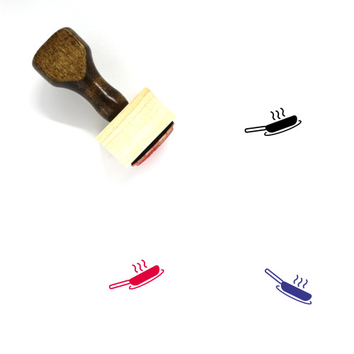 Frying Pan Wooden Rubber Stamp No. 59