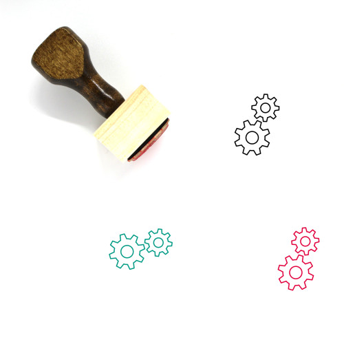 Cogs Wooden Rubber Stamp No. 17