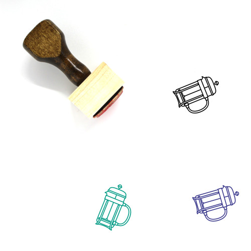 French Press Wooden Rubber Stamp No. 14