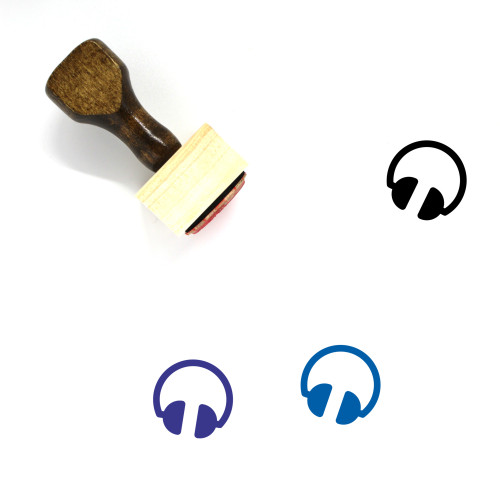 Headphone Wooden Rubber Stamp No. 19