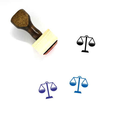 Balance Scale Wooden Rubber Stamp No. 28