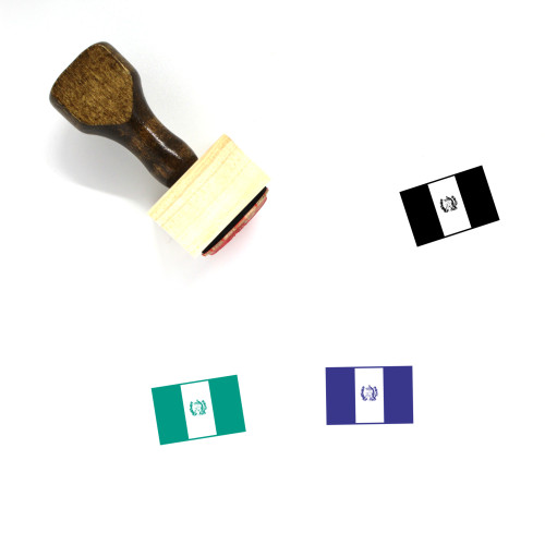 Guatemala Flag Wooden Rubber Stamp No. 1