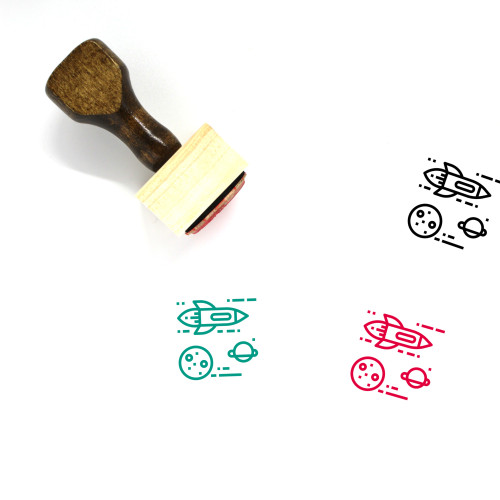 Space Travel Wooden Rubber Stamp No. 3