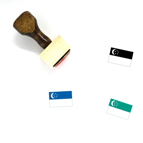 Flag Of Singapore Wooden Rubber Stamp No. 10
