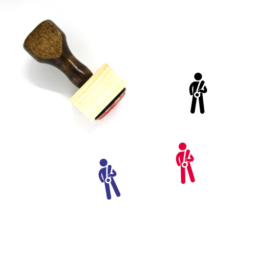 Man With Exclamation Mark Wooden Rubber Stamp No. 1
