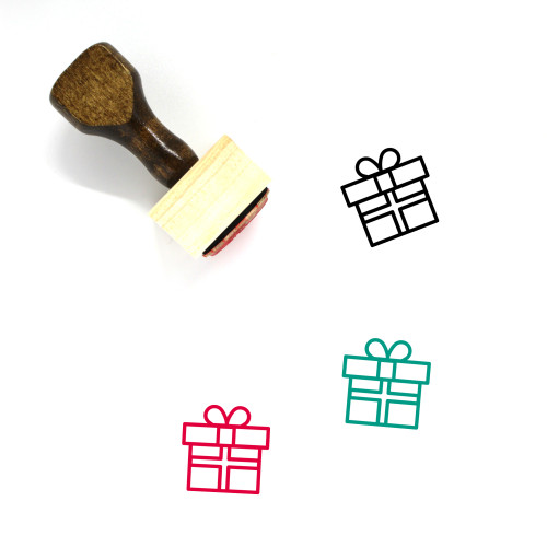 Gift Box Wooden Rubber Stamp No. 46