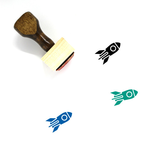 Rocket Wooden Rubber Stamp No. 173