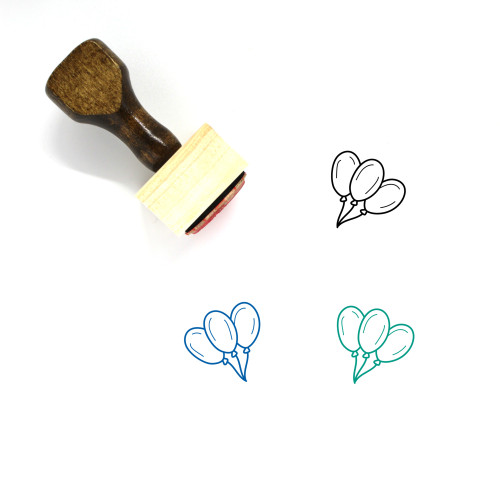 Balloons Wooden Rubber Stamp No. 81