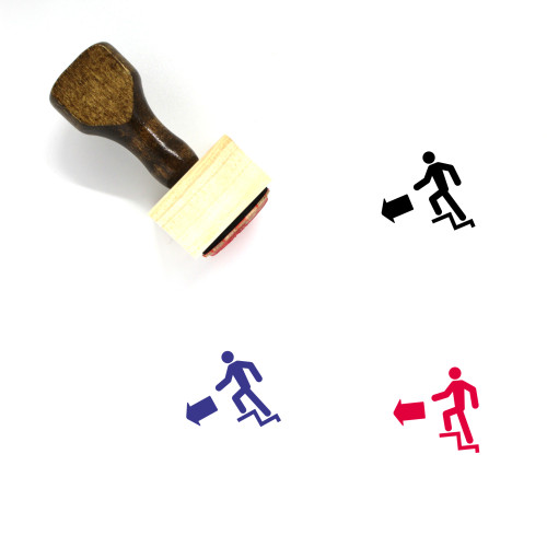 Exit Stairs Left Wooden Rubber Stamp No. 1