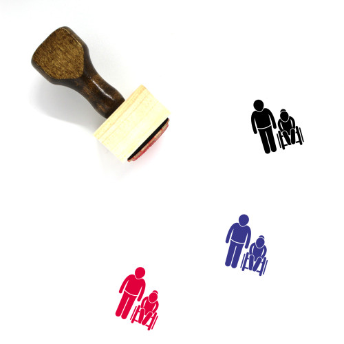 Old Son And GrandMa Wooden Rubber Stamp No. 1