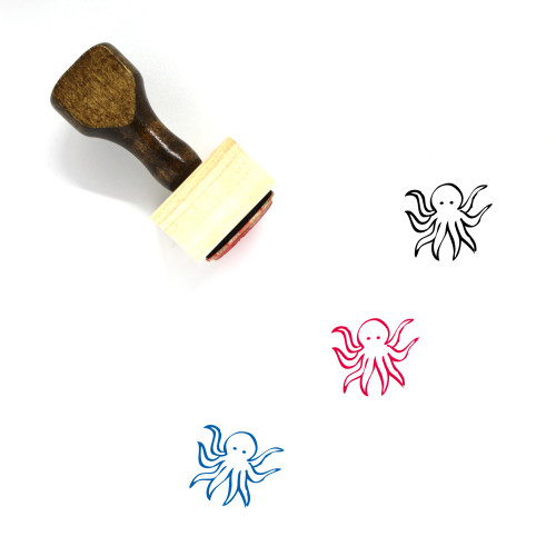 Octopus Wooden Rubber Stamp No. 70