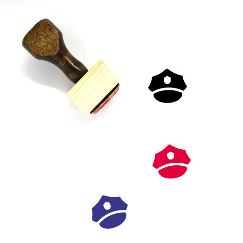 Police Cap Wooden Rubber Stamp No. 13