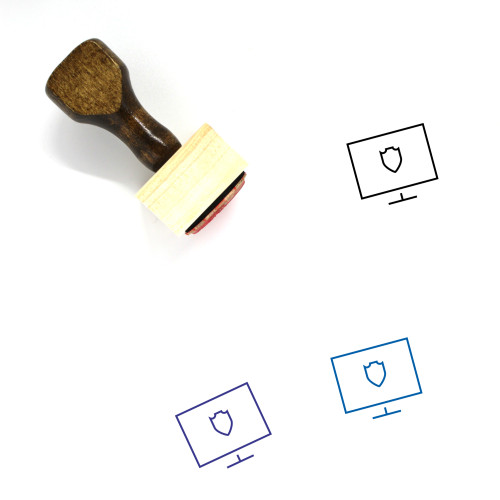 Locked Computer Wooden Rubber Stamp No. 6