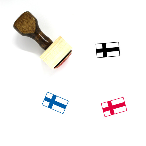 Finland Flag Wooden Rubber Stamp No. 7