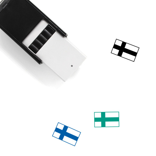 Finland Flag Self-Inking Rubber Stamp No. 7