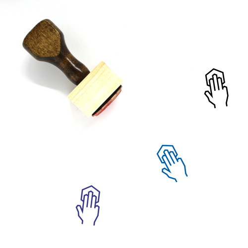 Three Finger Tap Wooden Rubber Stamp No. 3