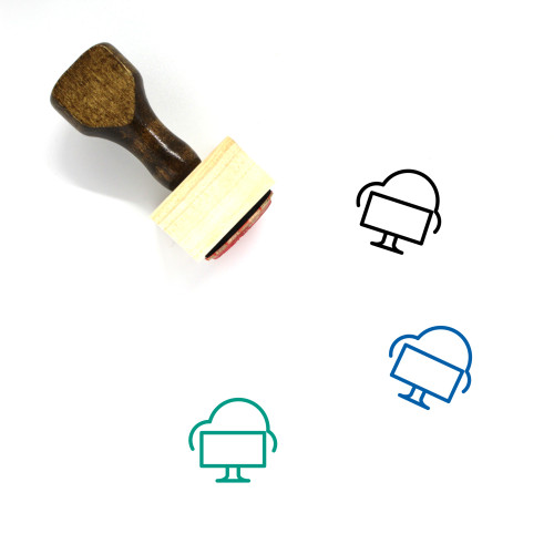 Cloud Computer Wooden Rubber Stamp No. 1