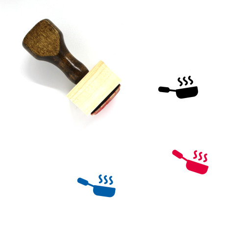 Frying Pan Wooden Rubber Stamp No. 60
