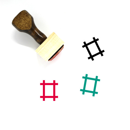 Hashtag Wooden Rubber Stamp No. 14