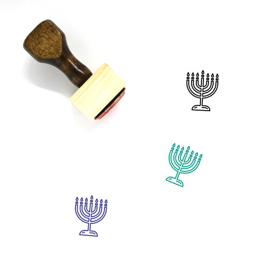 Menorah Wooden Rubber Stamp No. 71