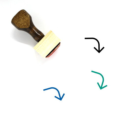 Turn Right Down Wooden Rubber Stamp No. 1