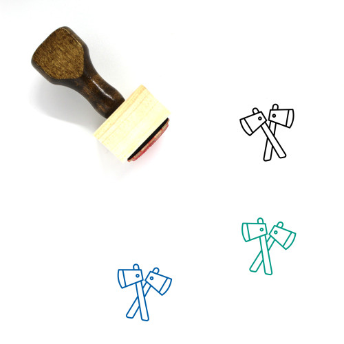 Axes Wooden Rubber Stamp No. 34