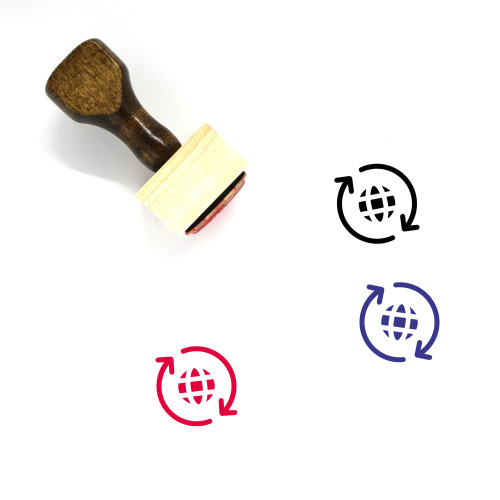 Globe Arrows Wooden Rubber Stamp No. 2