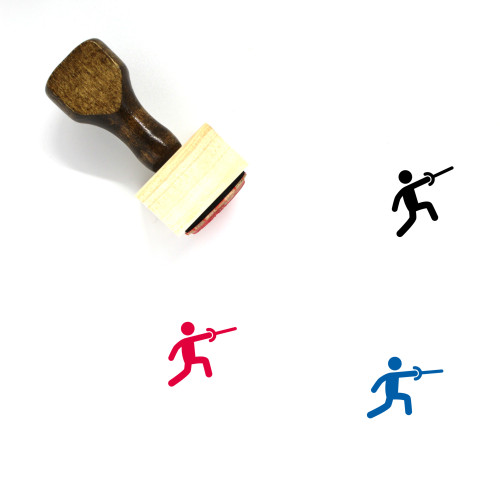Fencing Wooden Rubber Stamp No. 90