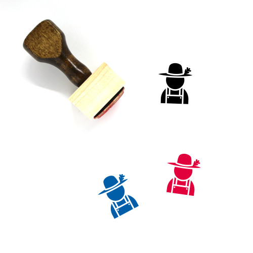 Farmer Wooden Rubber Stamp No. 58