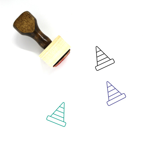 Traffic Cone Wooden Rubber Stamp No. 92