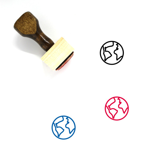 Globe Wooden Rubber Stamp No. 1338